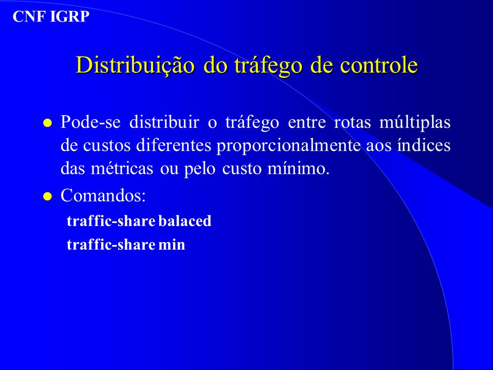 Distribuição do tráfego de controle