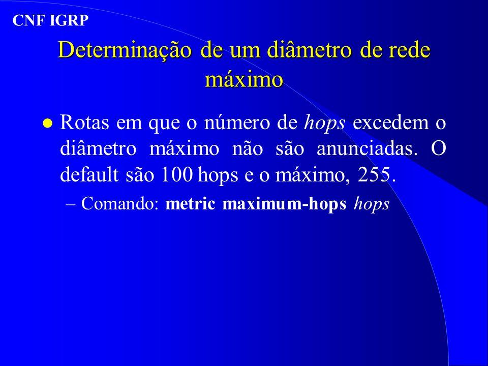 Determinação de um diâmetro de rede máximo