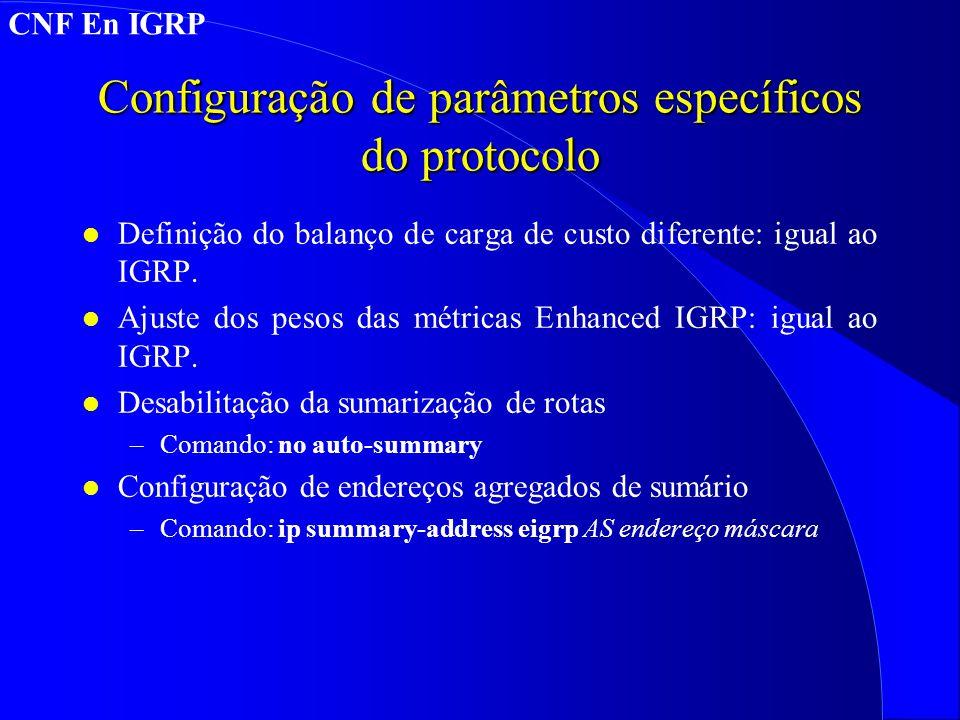 Configuração de parâmetros específicos do protocolo
