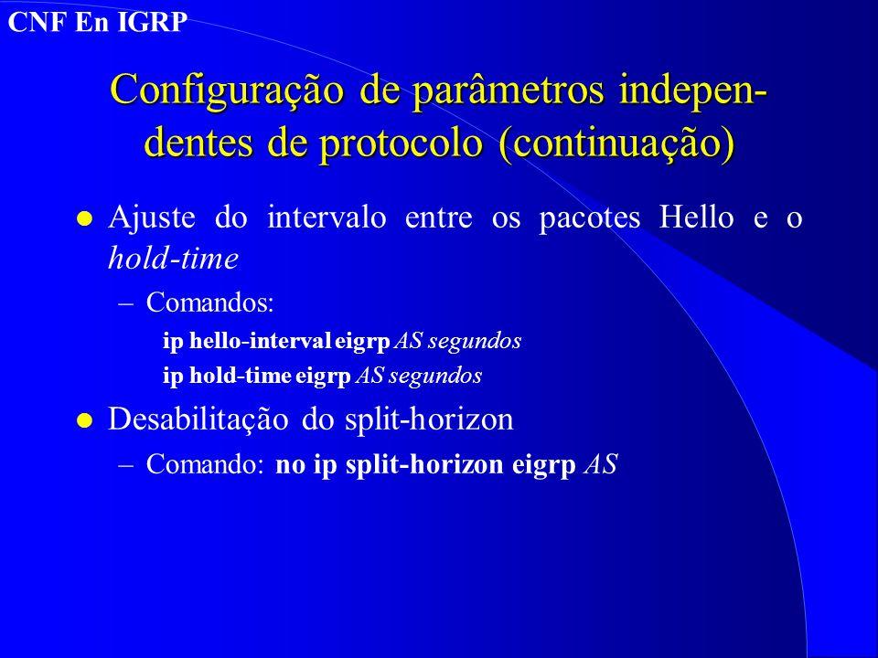 Configuração de parâmetros indepen-dentes de protocolo (continuação)
