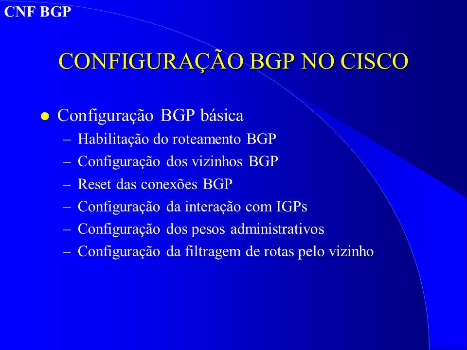CONFIGURAÇÃO BGP NO CISCO