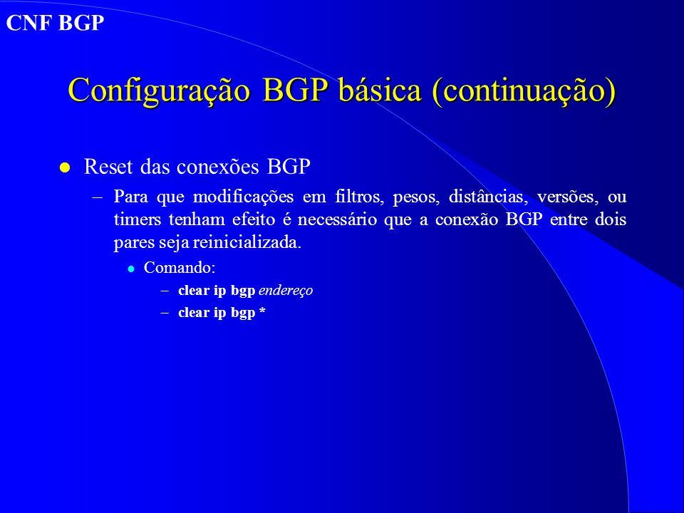 Configuração BGP básica (continuação)