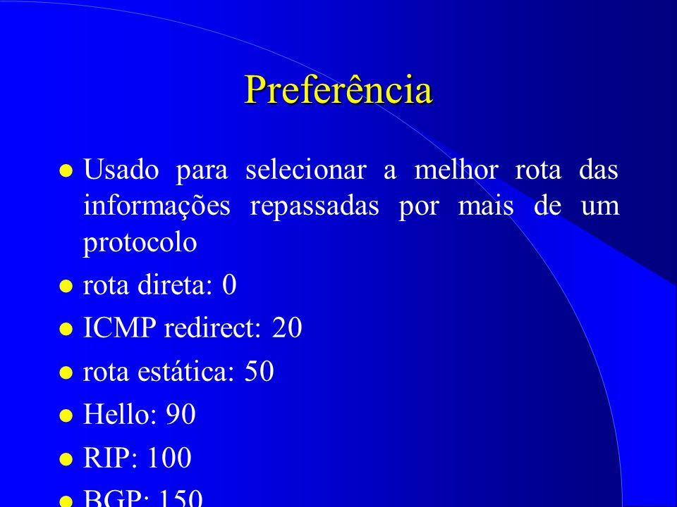 Preferência Usado para selecionar a melhor rota das informações repassadas por mais de um protocolo.