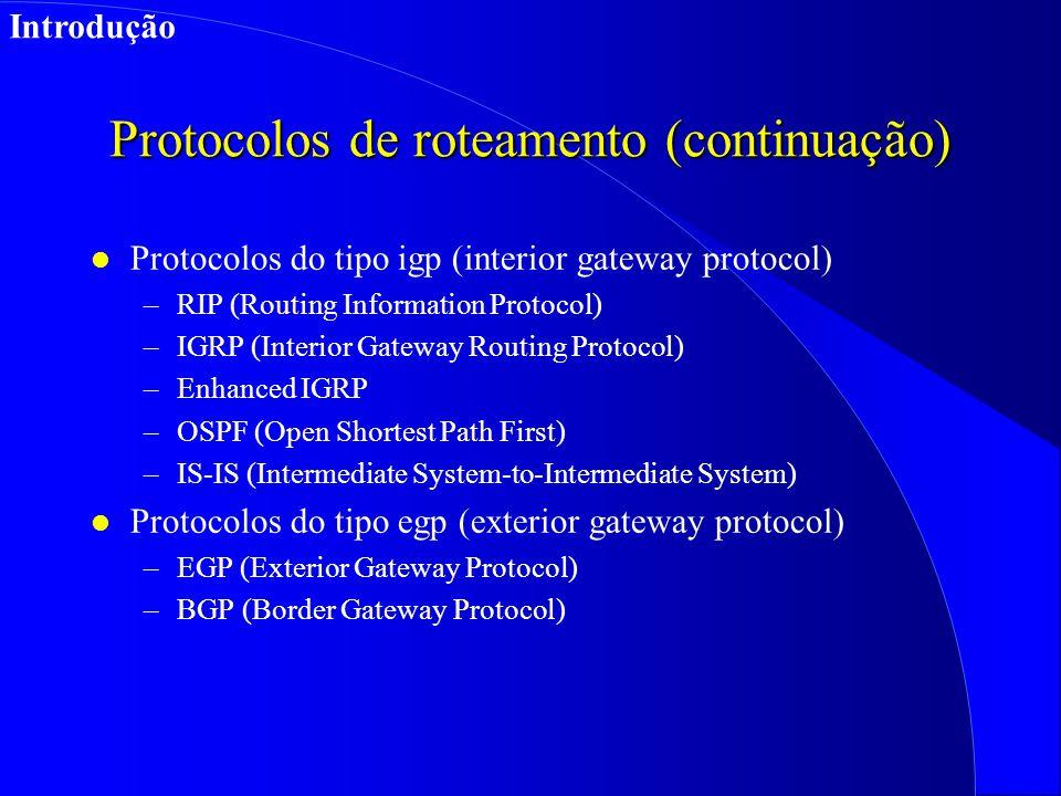 Protocolos de roteamento (continuação)