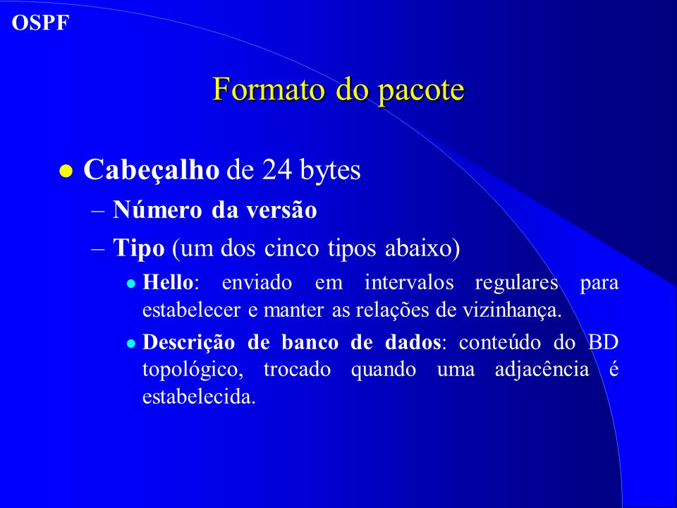 Formato do pacote Cabeçalho de 24 bytes Número da versão