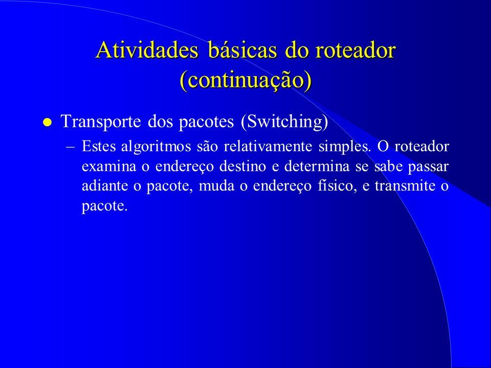 Atividades básicas do roteador (continuação)