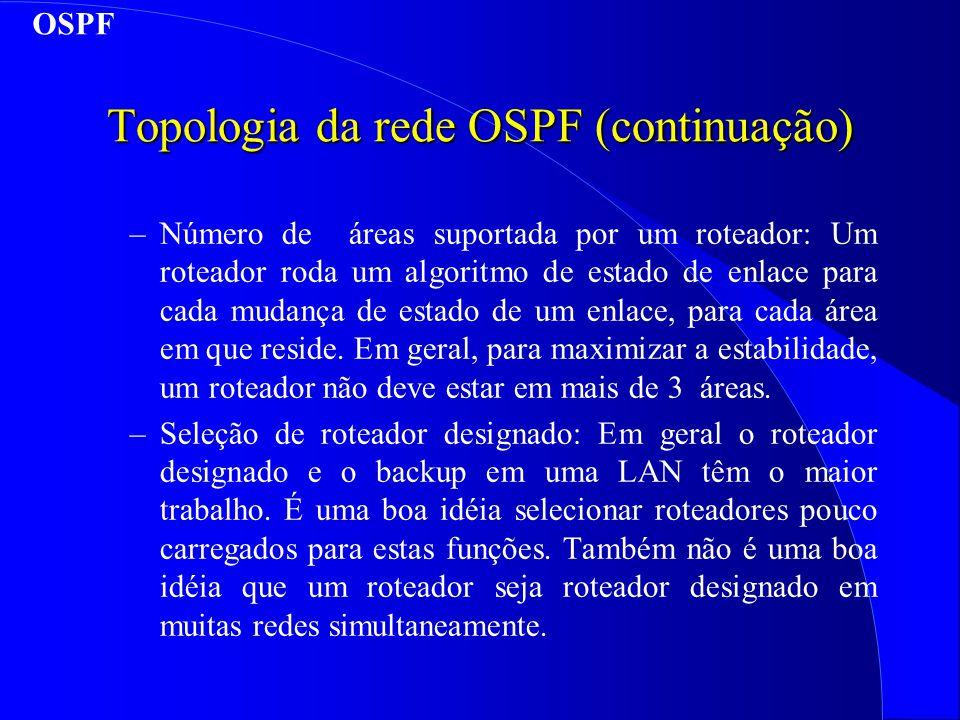 Topologia da rede OSPF (continuação)