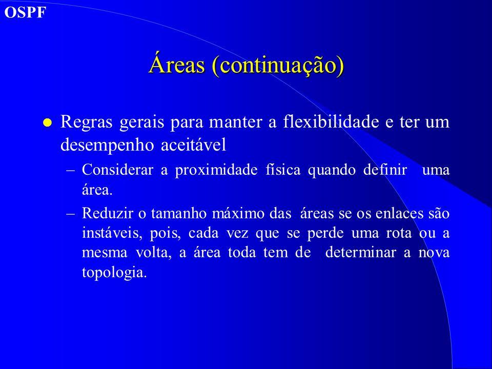 OSPF Áreas (continuação) Regras gerais para manter a flexibilidade e ter um desempenho aceitável.