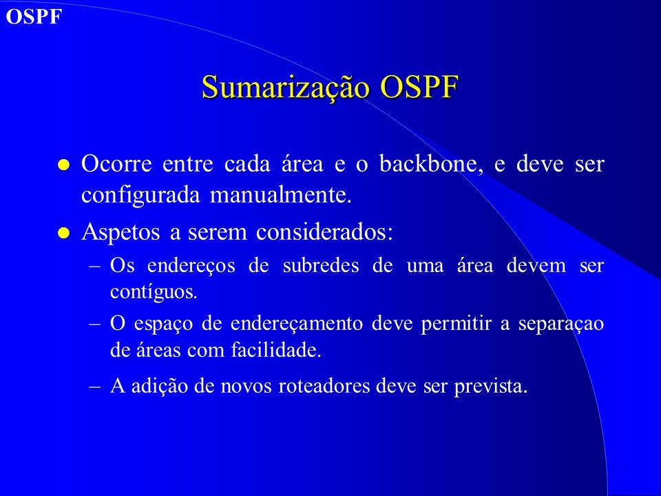 OSPF Sumarização OSPF. Ocorre entre cada área e o backbone, e deve ser configurada manualmente. Aspetos a serem considerados: