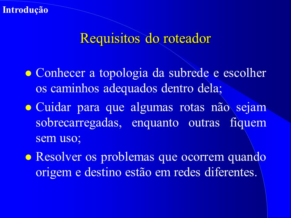 Requisitos do roteador
