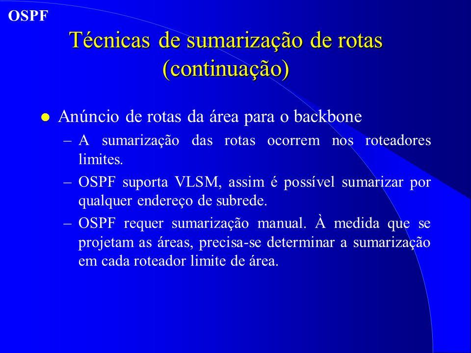 Técnicas de sumarização de rotas (continuação)
