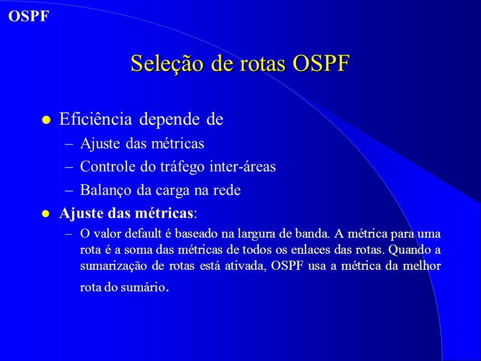 Seleção de rotas OSPF Eficiência depende de OSPF Ajuste das métricas