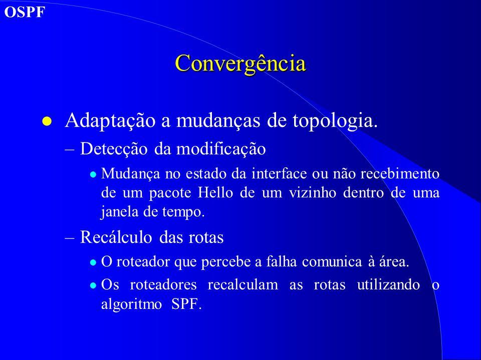 Convergência Adaptação a mudanças de topologia.