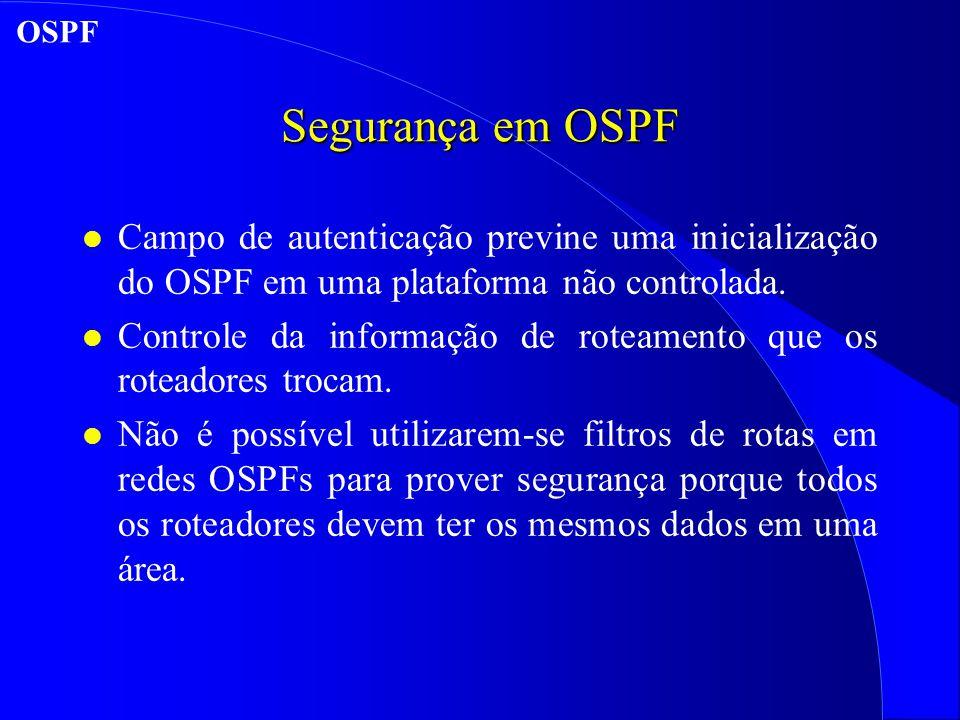 OSPF Segurança em OSPF. Campo de autenticação previne uma inicialização do OSPF em uma plataforma não controlada.