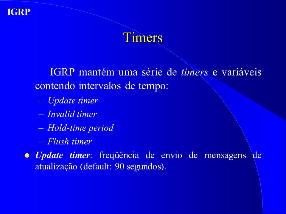 IGRP Timers. IGRP mantém uma série de timers e variáveis contendo intervalos de tempo: Update timer.