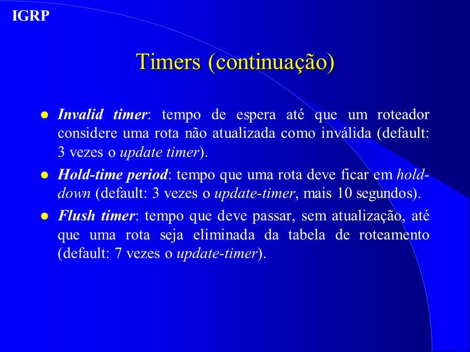 Timers (continuação) IGRP