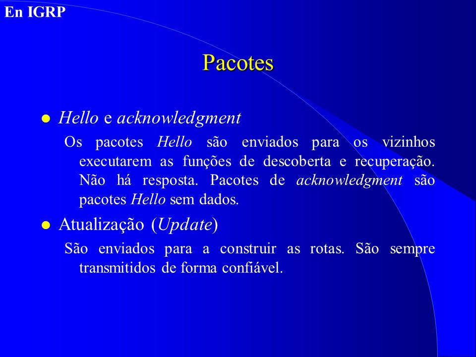 Pacotes Hello e acknowledgment Atualização (Update) En IGRP