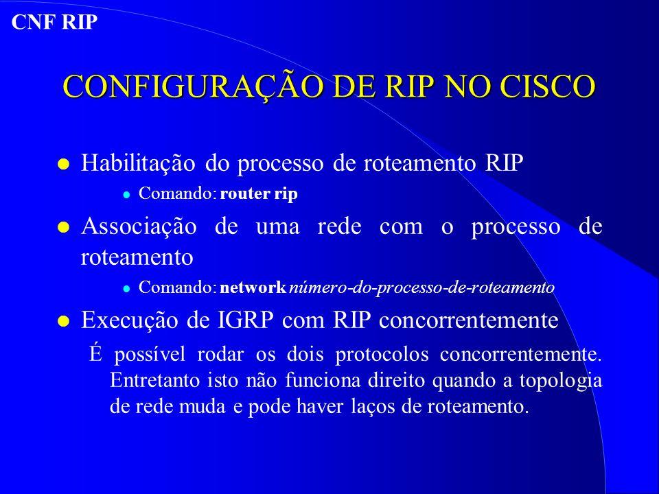 CONFIGURAÇÃO DE RIP NO CISCO