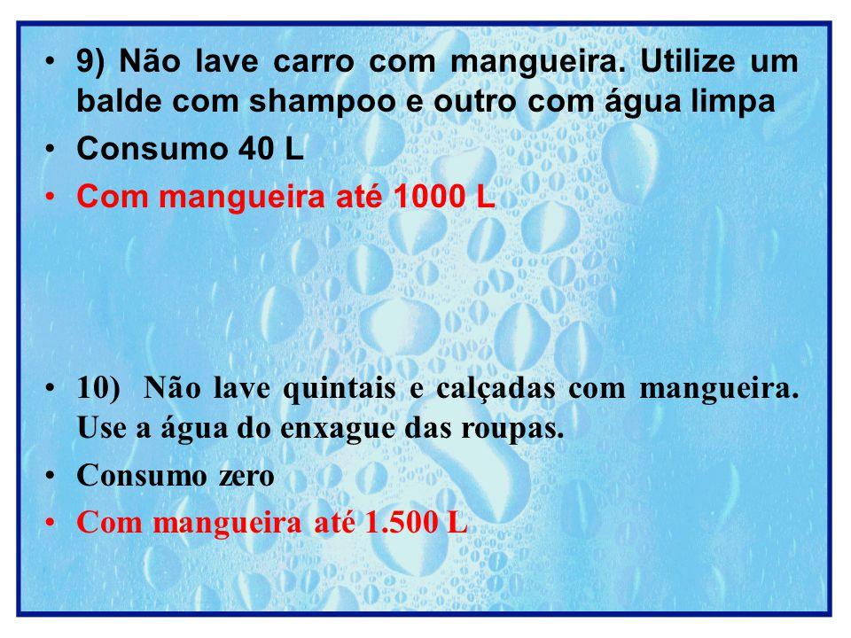 9) Não lave carro com mangueira
