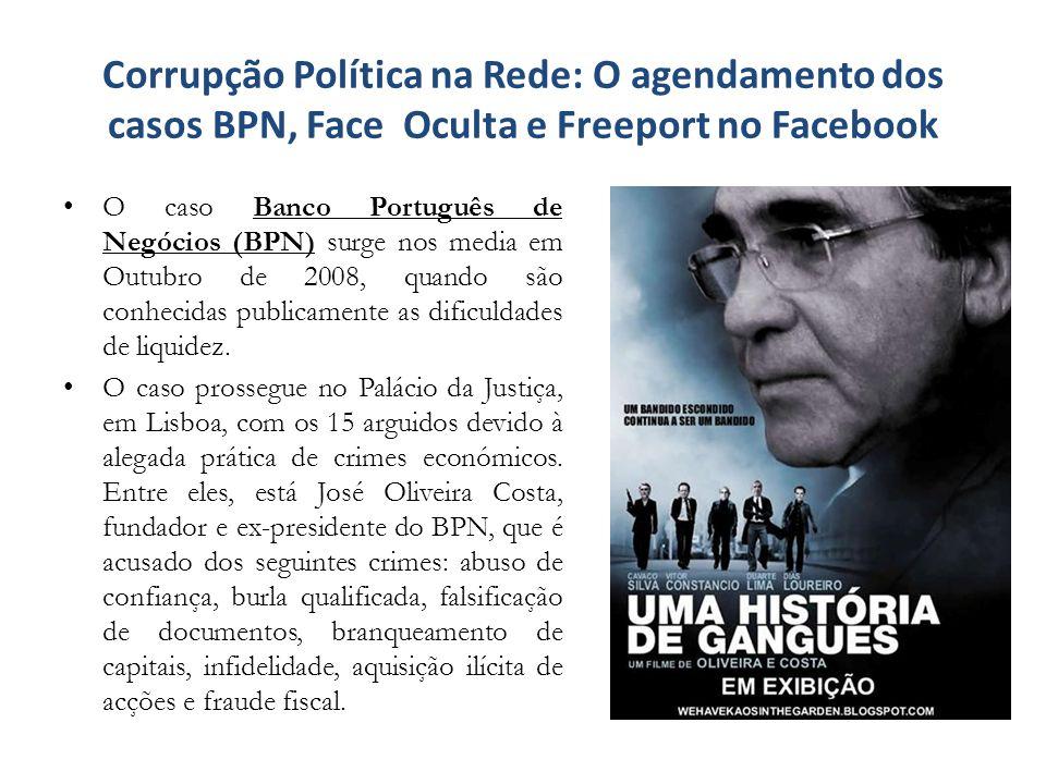 Corrupção Política na Rede: O agendamento dos casos BPN, Face Oculta e Freeport no Facebook