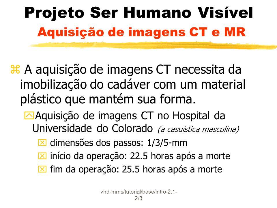 Projeto Ser Humano Visível Aquisição de imagens CT e MR
