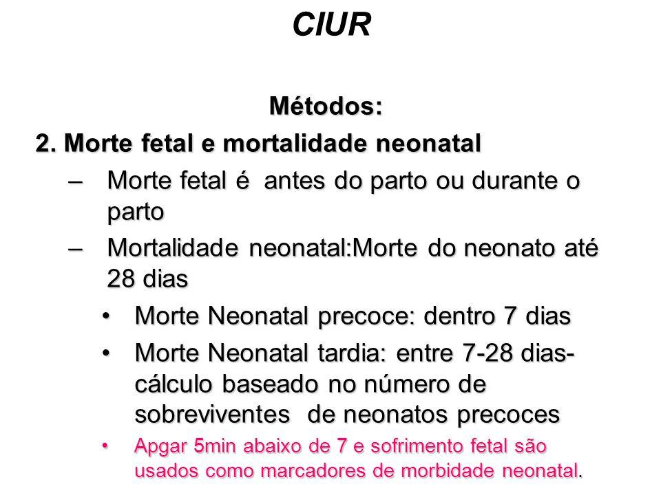 CIUR Métodos: 2. Morte fetal e mortalidade neonatal