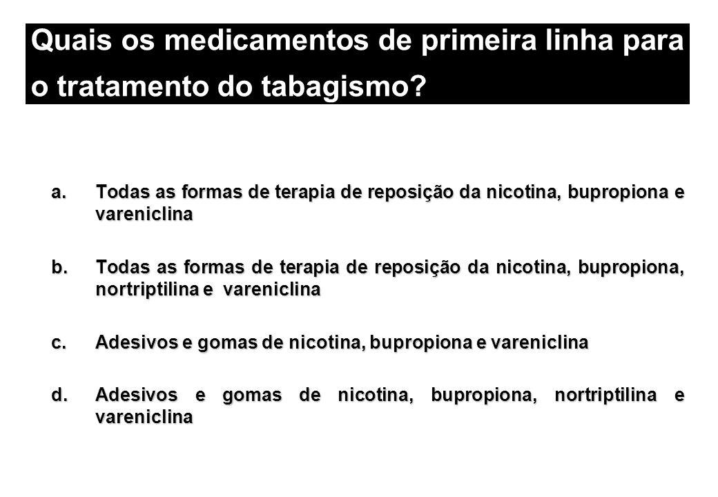 Quais os medicamentos de primeira linha para o tratamento do tabagismo