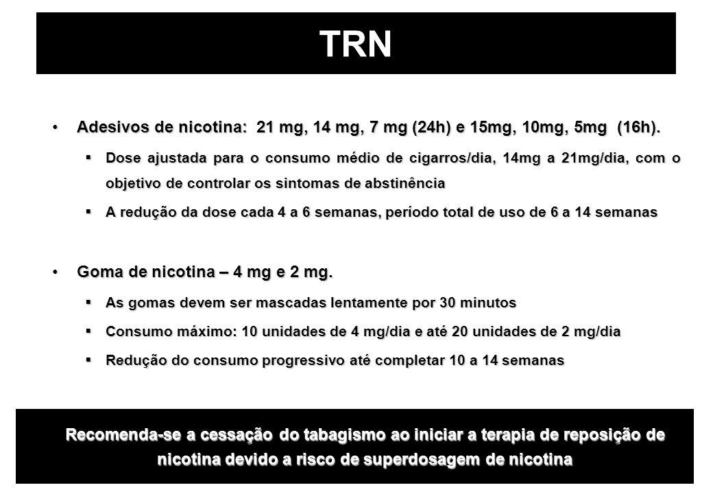 TRN Adesivos de nicotina: 21 mg, 14 mg, 7 mg (24h) e 15mg, 10mg, 5mg (16h).