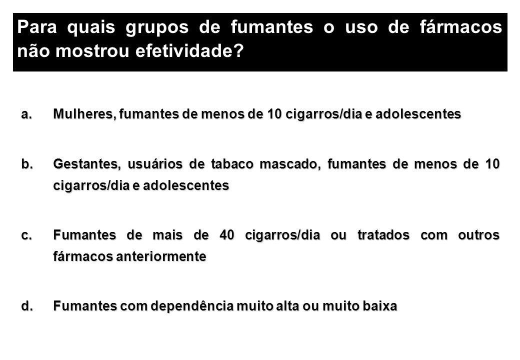 Para quais grupos de fumantes o uso de fármacos não mostrou efetividade