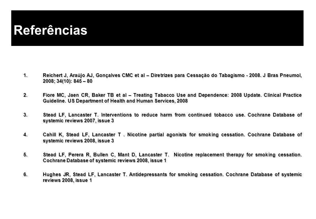 Referências Reichert J, Araújo AJ, Gonçalves CMC et al – Diretrizes para Cessação do Tabagismo - 2008. J Bras Pneumol, 2008; 34(10): 845 – 80.