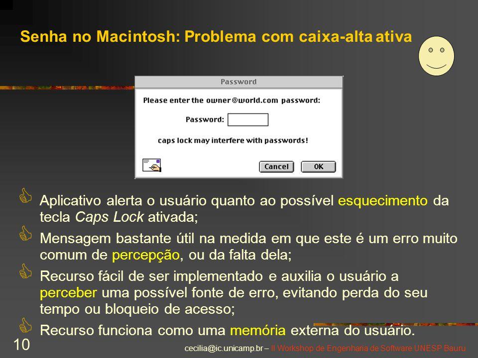 Senha no Macintosh: Problema com caixa-alta ativa