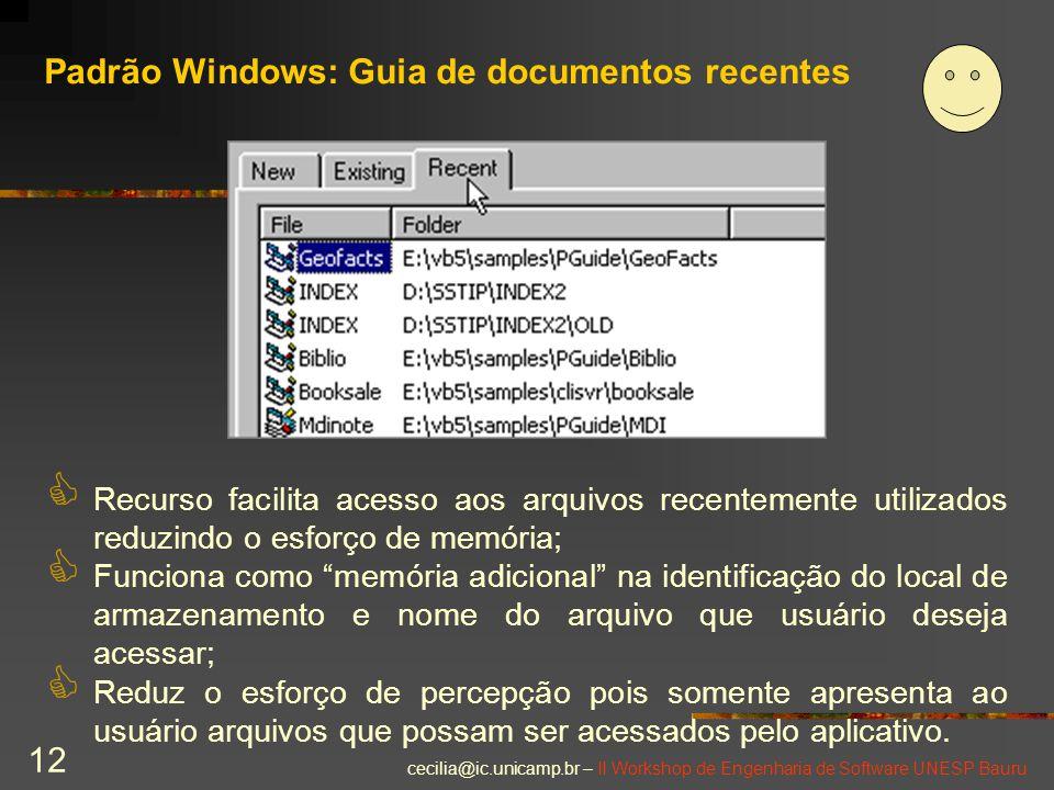 Padrão Windows: Guia de documentos recentes