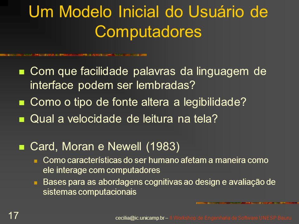 Um Modelo Inicial do Usuário de Computadores