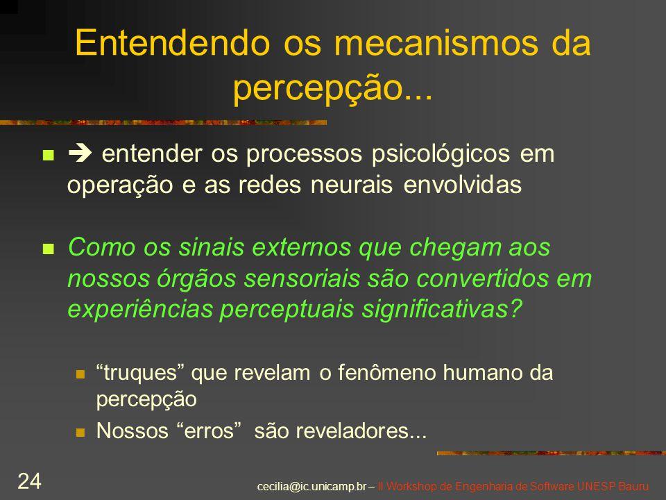 Entendendo os mecanismos da percepção...