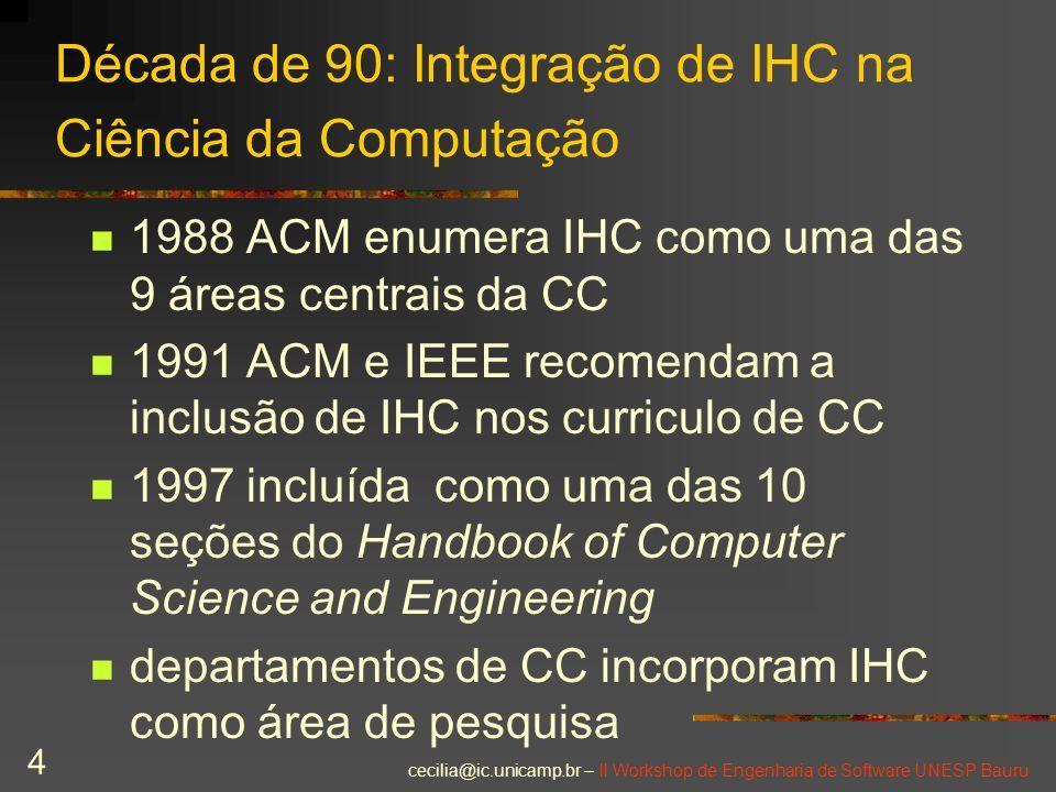 Década de 90: Integração de IHC na Ciência da Computação