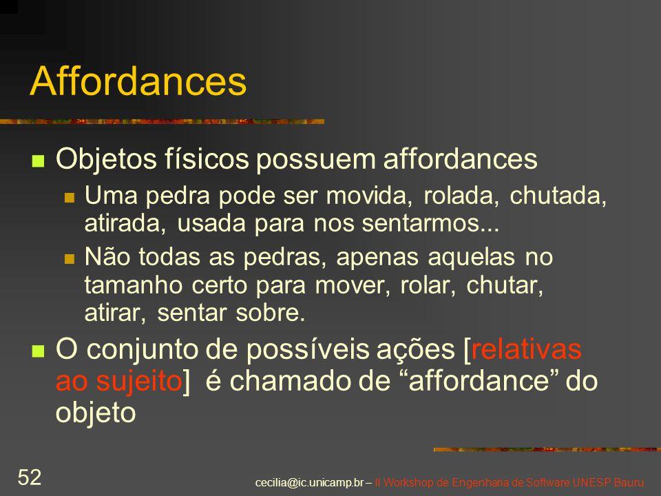 Affordances Objetos físicos possuem affordances