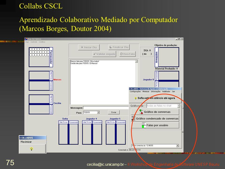 Collabs CSCL Aprendizado Colaborativo Mediado por Computador (Marcos Borges, Doutor 2004)