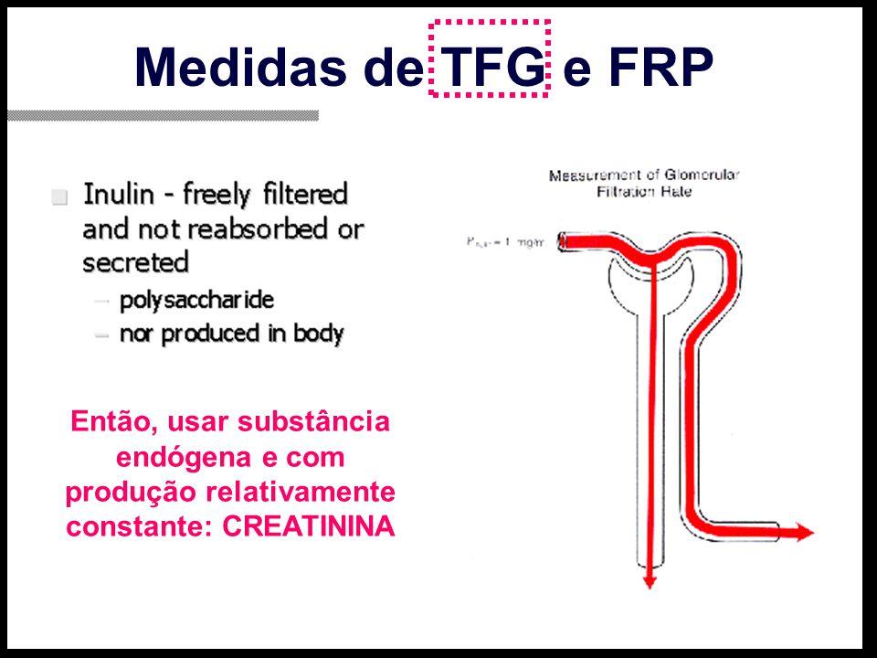Medidas de TFG e FRP Então, usar substância endógena e com produção relativamente constante: CREATININA.