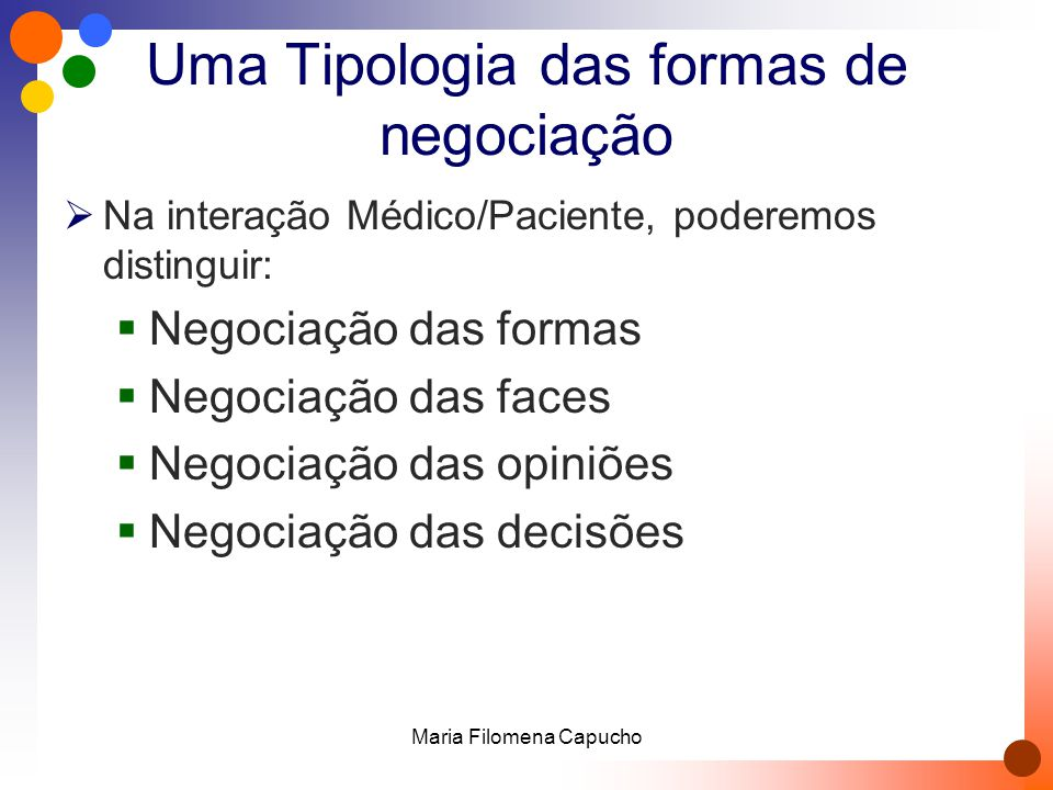 Uma Tipologia das formas de negociação