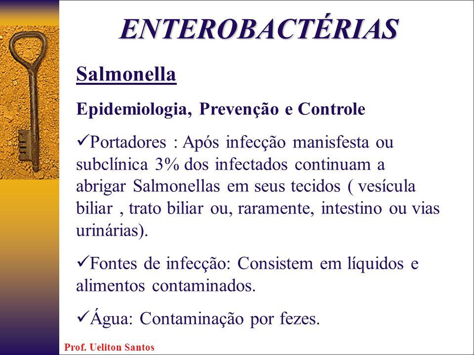 ENTEROBACTÉRIAS Salmonella Epidemiologia, Prevenção e Controle