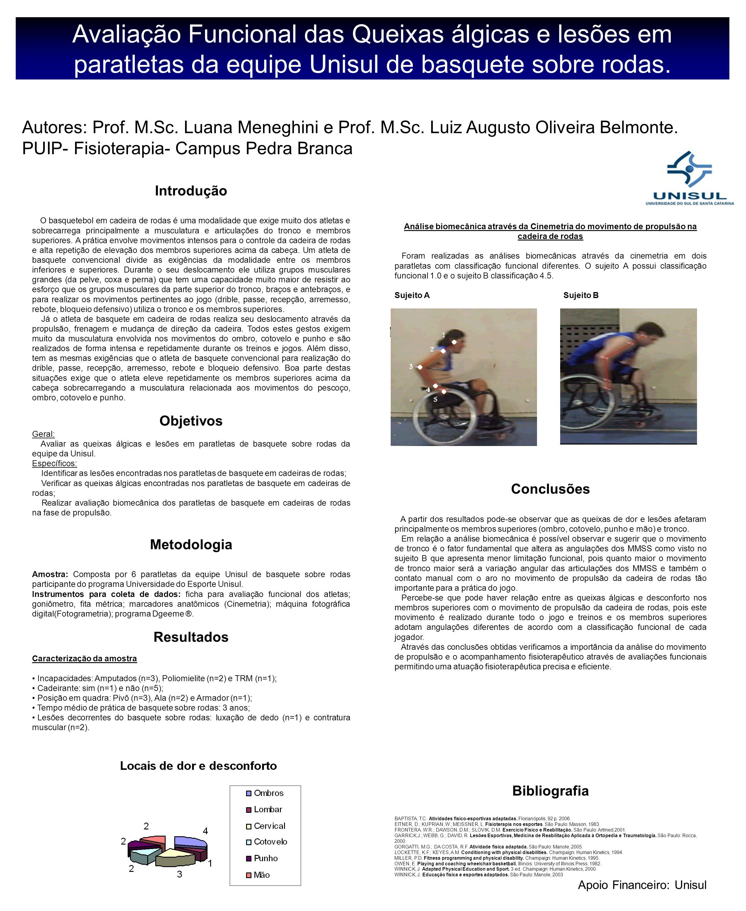 Avaliação Funcional das Queixas álgicas e lesões em paratletas da equipe Unisul de basquete sobre rodas.