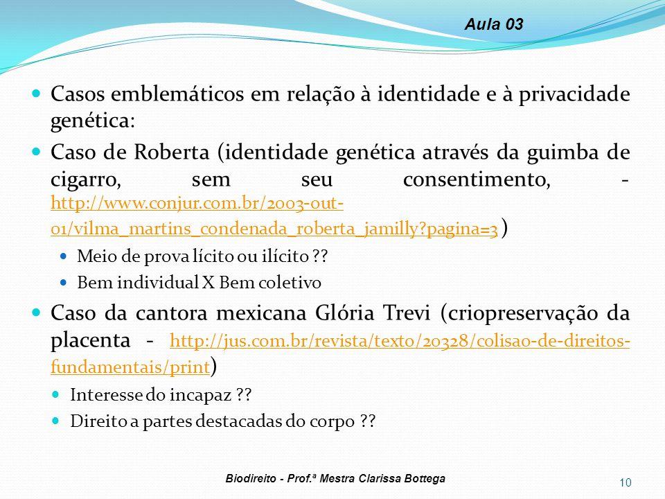 Casos emblemáticos em relação à identidade e à privacidade genética: