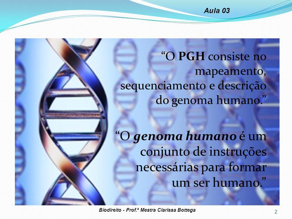 Aula 03 O PGH consiste no mapeamento, sequenciamento e descrição do genoma humano.