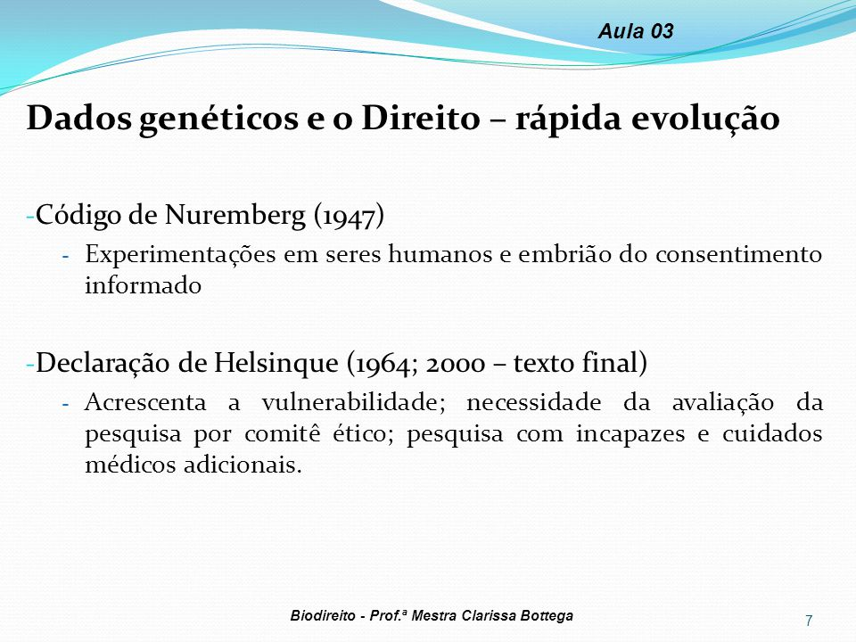 Dados genéticos e o Direito – rápida evolução