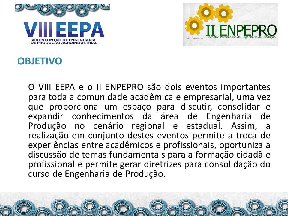OBJETIVO O VIII EEPA e o II ENPEPRO são dois eventos importantes para toda a comunidade acadêmica e empresarial, uma vez que proporciona um espaço para discutir, consolidar e expandir conhecimentos da área de Engenharia de Produção no cenário regional e estadual.