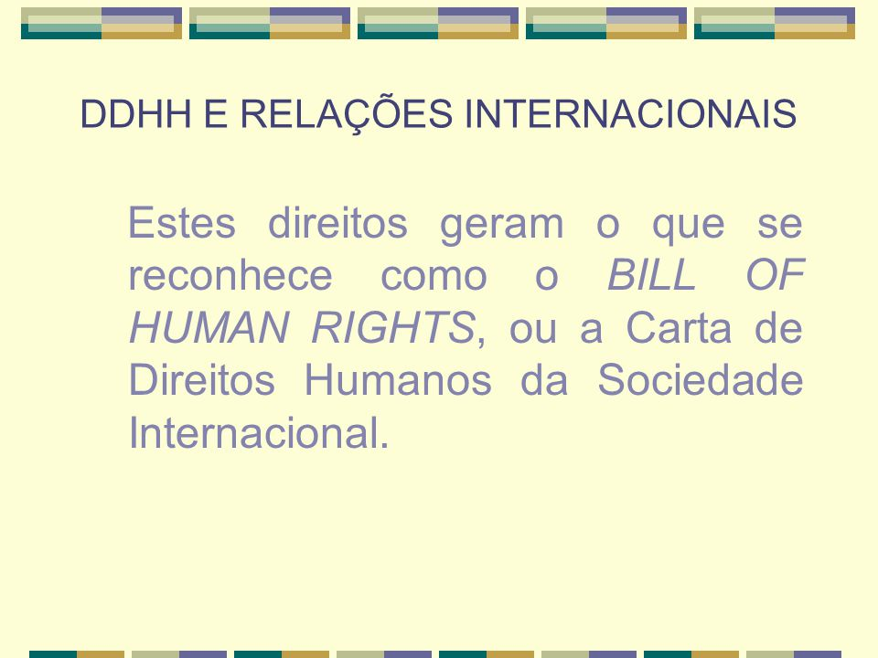 DDHH E RELAÇÕES INTERNACIONAIS