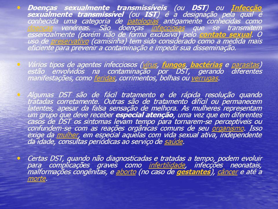 Doenças sexualmente transmissíveis (ou DST) ou Infecção sexualmente transmissível (ou IST) é a designação pela qual é conhecida uma categoria de patologias antigamente conhecidas como doenças venéreas. São doenças infecciosas que se transmitem essencialmente (porém não de forma exclusiva) pelo contato sexual. O uso de preservativo (camisinha) tem sido considerado como a medida mais eficiente para prevenir a contaminação e impedir sua disseminação.
