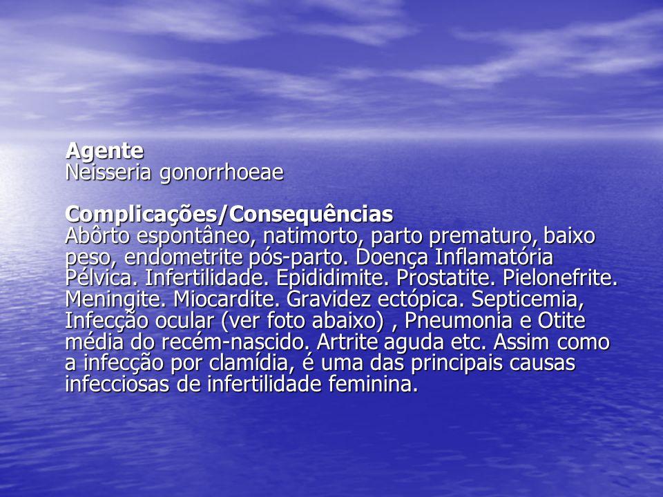 Agente Neisseria gonorrhoeae Complicações/Consequências Abôrto espontâneo, natimorto, parto prematuro, baixo peso, endometrite pós-parto.
