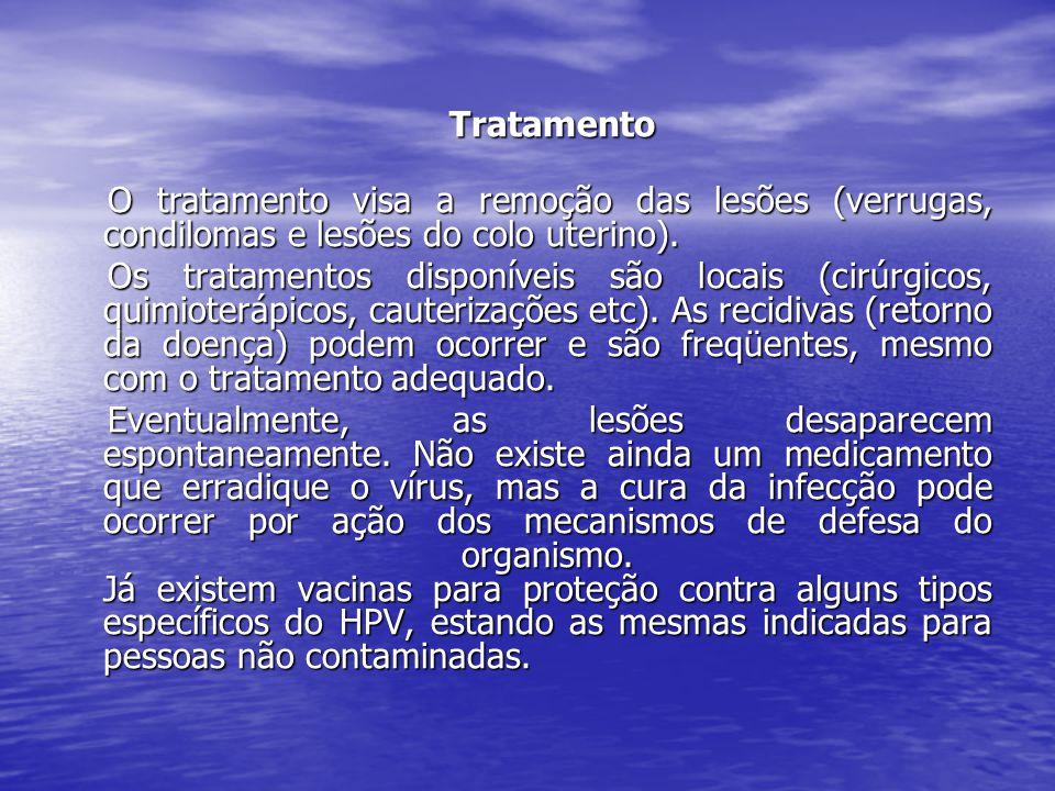 Tratamento O tratamento visa a remoção das lesões (verrugas, condilomas e lesões do colo uterino).