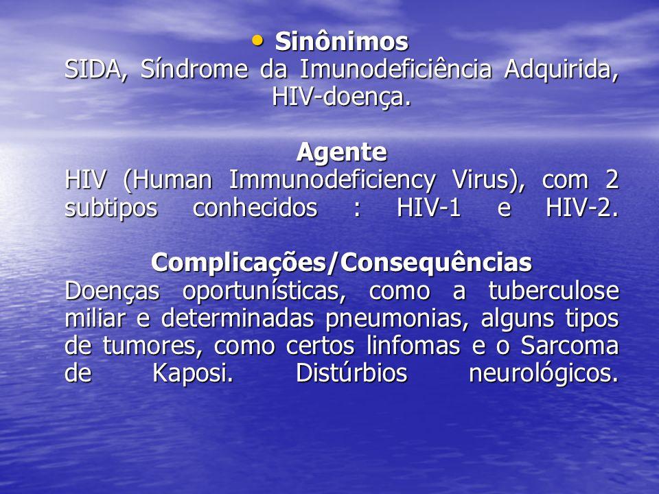 Sinônimos SIDA, Síndrome da Imunodeficiência Adquirida, HIV-doença